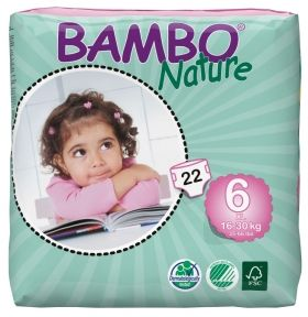 Eко пелени Bambo Nature XL, размер 6, 16-30 кг., 22 броя